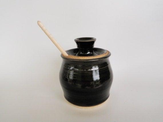 Black Stoneware Honey Pot