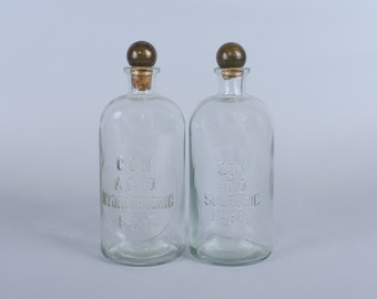 Apothecary Bottles / Lab Acid Chemistry Bottles  / Etched Glass Bottles