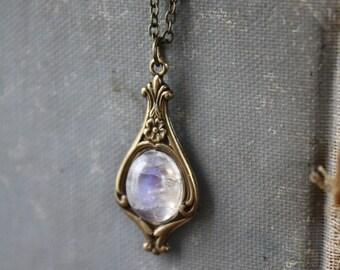 Moonstone Necklace - Victorian Necklace - Bridesmaid Necklace - Antique Brass