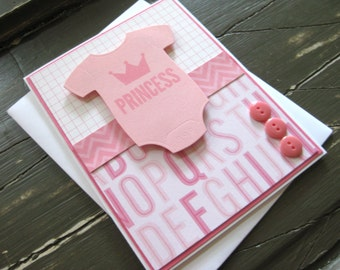 Princess with Crown and Pink Onesie - Handmade Baby Girl Card