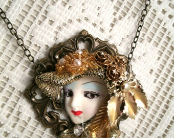 Golden Girl Pendant Necklace Resin Head Necklace with Vintage repurpose gold plated Crystal heart jewelry Vintage Glass bead Deco Pieces