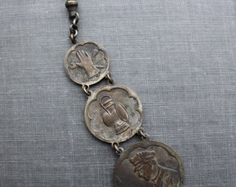 RARE Antique Automobile Triple Fob Watch Chain / Chauffeur and Motoring Fashion