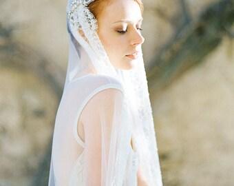 Bridal Veil, Juliet cap Veil, Beaded Veil, Lace Bridal Veil, crystal Veil - Style 303