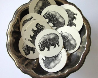 Hippo Hippopotamus Tags Round Paper Gift Tags Set of 10
