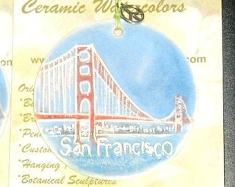 SAN FRANCISCO handmade ceramic ornament ships 2 to 3 day USPS Priority free gift wrap city locavore gift under 25 30 35 Golden Gate Bridge
