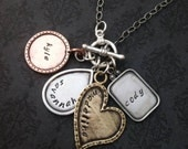 Personalzed Necklace, Hand Stamped Jewelry - Flower, Rectangle, Circle, and Heart shaped Artisan Pieces
