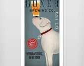 PERSONALIZED - White BOXER  Dog Brewing Company graphic art giclee print  SIGNED