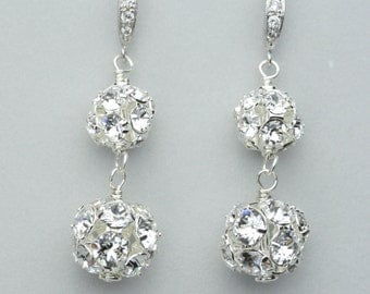 Rhinestone Ball Earrings, Swarovski Crystal Jewelry, Dangle Wedding Earrings, Rhinestone Bridal Jewelry, Crystal Earrings