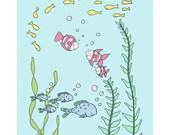Under the Sea Nursery Art -- Little Fishies -- Fish Nursery Art -- Children's Art Print, Kids Wall Art, Under the Sea Nursery, Nautical