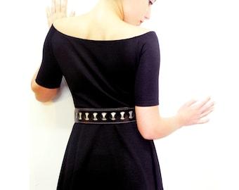Black Women Waist / Hip Elastic  Leather Belt  -Dress leather sash - Obi  belt -sash - Women- BOGO SALE
