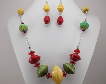 Necklace and Earring Set - Rwandan Paper Beads - Large Red, Green and Yellow - Chunky