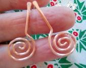 Copper post curls, Beaten copper earrings, Long post earrings, Copper swirls, Gift for her, Gift under 20