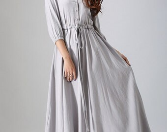 Grey dress, shirt dress, ladies dresses, linen dress, long maxi dress, mod clothing,fall dress, custom made dress, button dress, Gift (785)