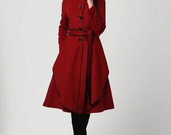Dark red coat | Etsy