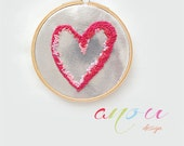 """Embroidery Hoop Wall Silver Heart - French Knots on sparkling fabric 4.5"""" **MADE TO ORDER**"""