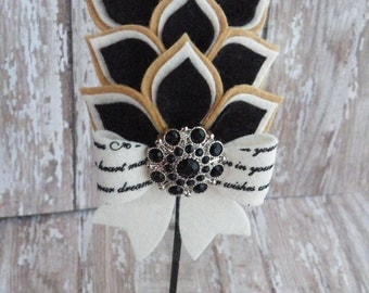 Black and Tan Dahlia Headband, Black and Tan headband, Ready to Ship