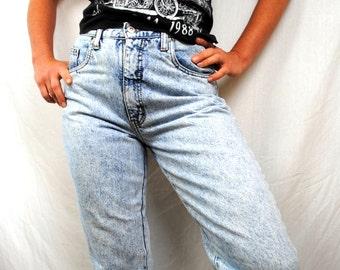 Vintage 80s Bonjour Acid Washed High Waisted Jeans