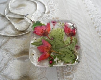 Spring Tulips-Large Square Glass Pressed Flower Pendant-Ombre Pink Boronia,Heather,Queen Anne's Lace-Symbol Peace,Admiration-Gifts For 30