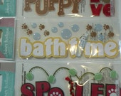 PUPPY Love, BATHTIME, SPOILED Jolee's Boutique Scrapbooking Supplies Stickers- Dog, Hearts, Bones