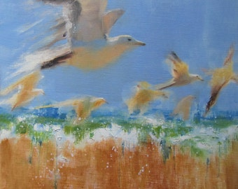"Wall Art, Ready to Hang Art, Seagull Art, Beach Decor, Bird Art, Abstract Painting, Sea Creature Art 'Seagulls Flight"" by AndolsekArt"