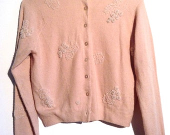 Vintage 1950 Beaded Sweater.  Cashmere.  Hong Kong.  Peachy beige, crystal Beading  Rockabilly, Sweater Girl, Mad Men.