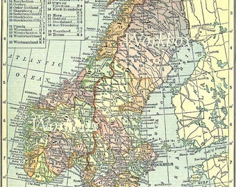 Vintage Sweden, Norway and Denmark map digital for download.  Holland vintage  1920s.  High resolution printable multicolored image.