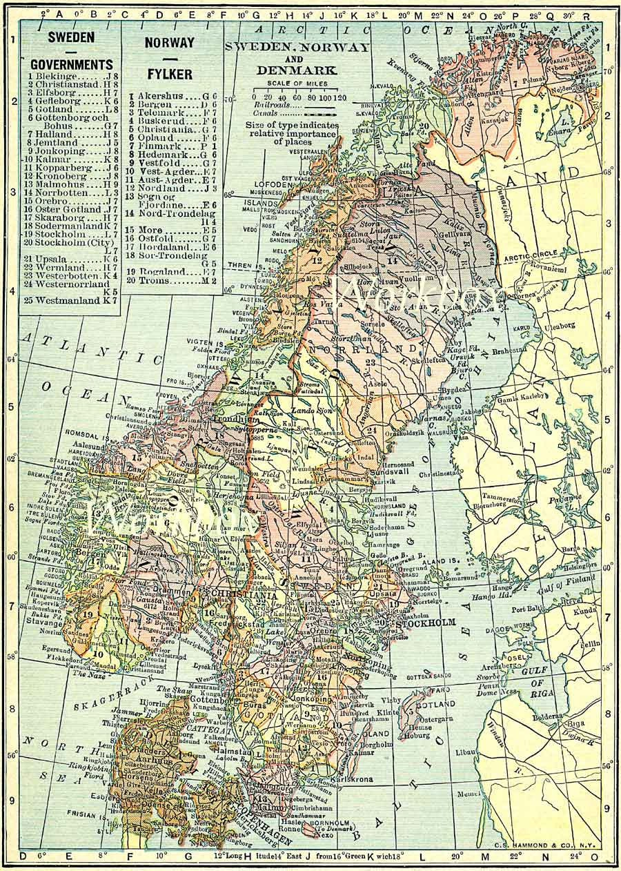 Vintage Sweden Norway And Denmark Map Digital For Download - Sweden map printable