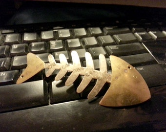 Large Brass Vintage Fish Christian Symbol Brooch