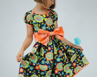 Princess Dress for Girls and Toddlers, Party Dress, Girl Dress, Back to School clothes, Toddler dress, blue, orange,Size 2T 3 4 5 6 7 8 9 10