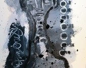 Original Abstract Painting Contemporary Art Black and White Acrylic and Ink Figure Painting by Julie Steiner
