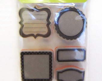 Hampton Art Doodlebug Cling Stamps Journal Shapes red rubber stamp perfect for art journaling scrapbooking card making