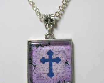 Purple cross pendant  and chain - AP05-076