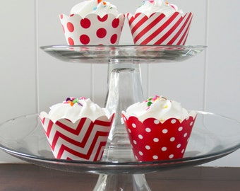 12 Red Cupcake Wrappers - PICK YOUR PATTERN - Red Cupcake Wrappers - Great for Birthday Parties, Baby Showers & Wedding Receptions