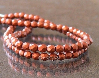 Silky Old Copper, Czech Beads Fire Polished 4mm 50 Faceted Round GLass