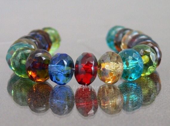Translucent Picasso Mix Donut, Czech Beads 8x6mm 12 Glass Gemstone-Cut