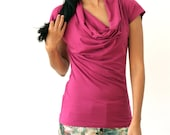 MOVING SALE - Organic Cowl Neck, Bamboo Clothing, Drapey Cowl Neck, Organic Pink Tshirt, Purple Cowl Neck, Womens Organic Clothing - SARA