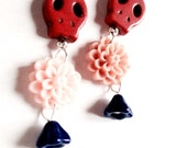 """Earrings - Red Skulls and Peachy Flowers - Punk Romance - """"Come With Us"""""""