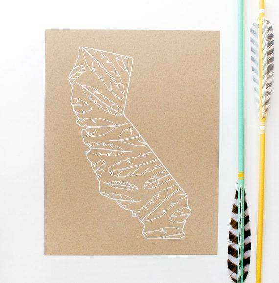 California Screen Print - 8.5x11 - Feathers - original screen print - ooak - rustic - natural - white on kraft