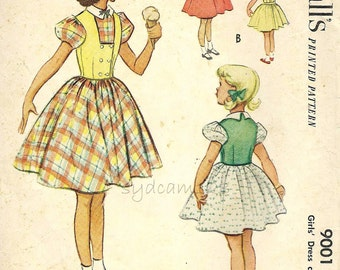 Vintage 1950s Girls Back Button Puff Sleeve Full Dress Pattern Square Front Double Breasted Westkit Vest 1952 McCalls 9001 Size 4