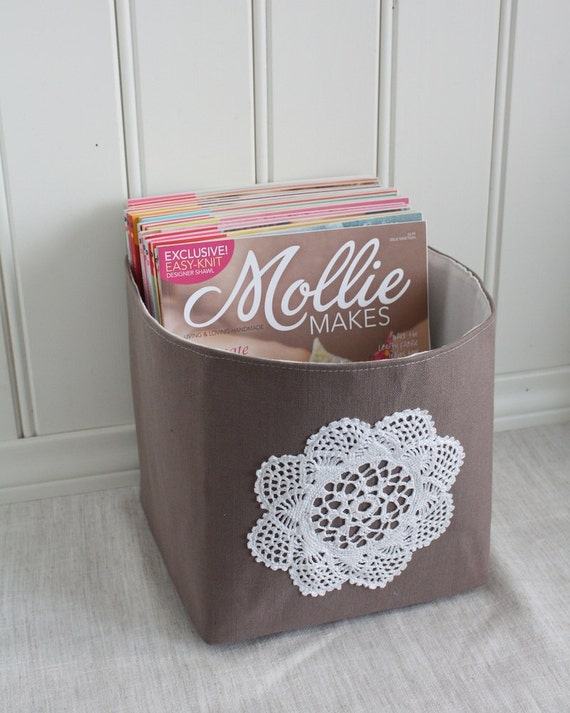 storage bin size L, brownish grey canvas with vintage lace