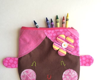 Pink Zipper Pouch, Cute Pencil Case