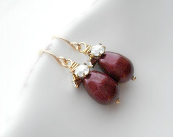 Bordeaux Pearl Drop Earrings In Gold Wedding Jewelry Wine Red Crystal Earrings Vintage Style Jewelry Gift For Her Under 25