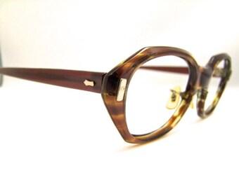 Vintage 1960s Eyeglasses // 60s Rare Style Frames // Tortoiseshell // American Optical