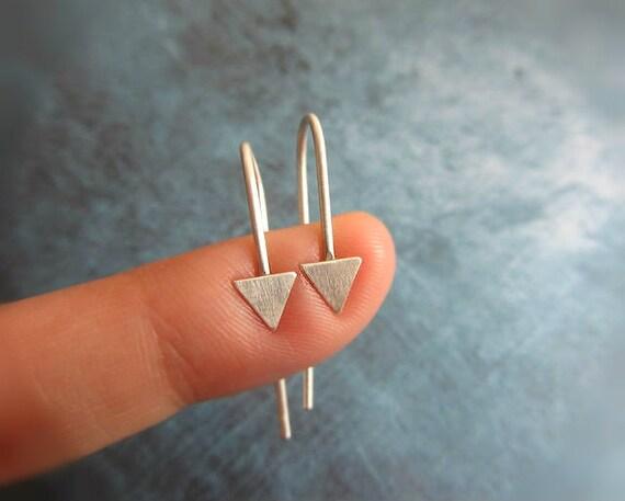 Arrow hoop earrings in sterling silver, geometric triangle dangle earrings.
