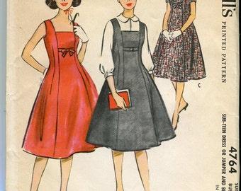 McCalls 4764 UNCUT Vintage 50s Junior Dress or Jumper and Blouse Pattern