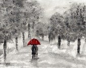 Stroll in the Rain - Original watercolor painting