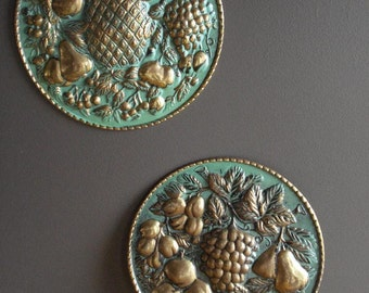 Teal and Brass - Vintage Wall Art - Wall Decor Medallions - Made in England - Vintage Metal Plates