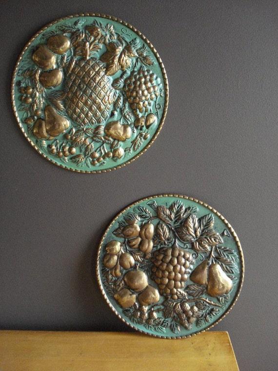 Teal Medallion Wall Decor : Teal and brass vintage wall art decor medallions