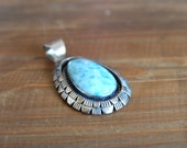 Unique Larimar Pendant - Sterling Silver - Vintage Native American Necklace