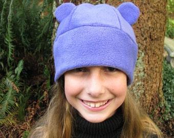 Bear Ear Hat - Purple Fleece Gummy Bear Animal Womens Mens Hat by Ningen Headwear